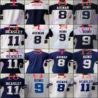 beasley jersey - Women NIK Game Football Stitched Cowboys Aikman Romo Cole Beasley Blue White Blue Jerseys Mix Order