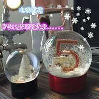 Wholesale 100 cc Christmas tree ornaments snow crystal ball snow globe quartz crystals bola de cristal box Snowball Electric anniversary