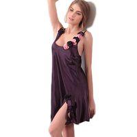 Wholesale Women Nightgowns European and American style v neck short sleep wear chinese market online sexy costumes silk nightwear