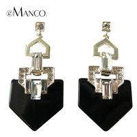 Wholesale Creative simple design crystal inlaid zinc alloy earrings eManco new fashion plank geometric pendant women earrings ER04321