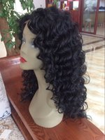 Wholesale New Sexsy Natural Black Glueless Synthetic Wigs Deep Wave Lace Front Wig Heat Resistant Fashion Wave Synthetic Lace Front Wigs