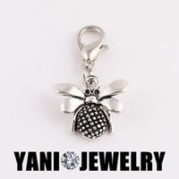 bee memory - Alloy Silver Tone Animals Bee Floating Dangle Charm Pendant DIY Charms for Living Memory Glass Locket