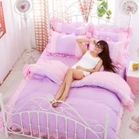 Wholesale Lovely Printed Princess Girls Bedclothes Duvet Cover Set Home Textile Lace Bedding Set Single Queen King Size JA0135 salebags