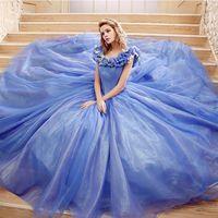 Wholesale Blue Cinderella Women s Evening Gowns Custom Made Big Girls Prom Dance Ball Celebrity Sweet Vestidos de quinceañera