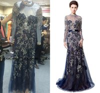 amazing party dresses - Zaid Nakad Long Sleeve Evening Dresses Sexy Luxury Amazing Detail Zuhair Murad High Neck Navy Blue Lace Pearls Arabic Prom Party Gowns