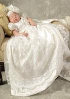 Vestido largo encantador del vestido del bautizo de la niña del bebé del cordón 0-24month del vestido del bautismo del bebé de los muchachos de 2017 con la venda
