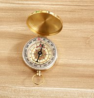 Wholesale New Outdoor Camping Hiking Portable Brass Pocket Golden Compass Navigation