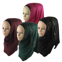 beautiful hijabs - pieces Hot Popular Cotton Jersey Scarf muslim Hijabs Shawl Beautiful Diamante Paillette Scarves With Rhinestones JLS108