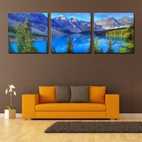 art pine - Wall Art Canvas Decor Landscape Painting Water Mountain And Pine Trees Landscape Hanging Decoration Paintings for Home Living Pictures Decor