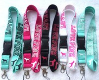 Wholesale New VS Love Pink Lanyard Detachable Keychain iPod Camera Strap Badge ID Cell Holder mixed colors