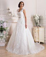 Wholesale Lace Wedding Dress New Design Elegant Lace Wedding Dress White Satin Tulle V Neck Hollow Back A Line Wedding Dresses AL01