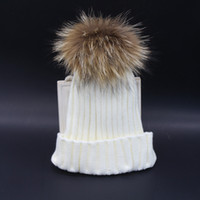 Wholesale Fashion adult Winter Raccoon Fur Hats Real cm Fur pompom Beanies Cap Natural Fur Hat For women colors for pick by EMS or DHL