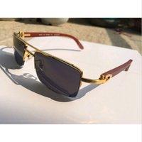 wood planks - New brand designer sunglasses semi rimless carter buffalo horn glasses men women sunglasses wood bamboo gold metal frame lunettes