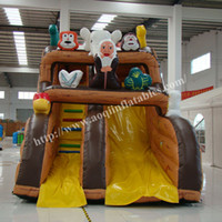 amusement park games for kids - AOQI funny amusement park equipment blown inflatable standard slide outdoor sport game cartoon inflatable slide for kid