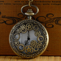 Wholesale 20pcs Gear Holoow Steampunk Pocket Watch Necklace Pendant High Quality