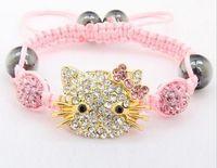Wholesale mm Hotsale Hello sfgsdfg Kitty Micro Pave Disco Ball Beads Bangles BCE Crystal Shamballa Bracelet jewelry Christmas Gift