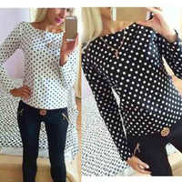Wholesale Autumn Women Polka Dot Shirt Fashion Shirts Casual Tops For Women Black Long Sleeve Polka Dot Spotted Blouse