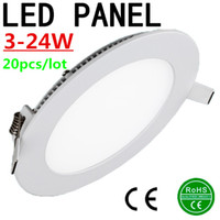 Wholesale 20pcs Ultra Thin w w w w w w w Round Dimmable LED Ceiling Recessed Light AC85 V LED Panel Light SMD2835 LED Downlight