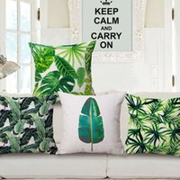 Wholesale Tropical Leaves Green Country Cushion Cover Pillow Sofa Backrest Pad Square Pillows Home Decor x43cm Linen Cotton Decorative Pillows