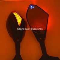 Wholesale Blue Point Dual LED Motorcycle Integrated LED Turn Signal Rearview Side Mirror For Honda CBR F4i RR F1 F2 Hurricane