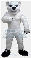 bear muscles - Anime Cosply Costume White Muscle Polar Bear Mascot Costume Adult Cartoon Character Mascotte Fancy Dress Suit Kits for College