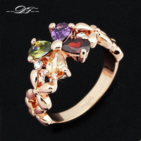 Wholesale Multicolor Butterfly Crystal Rings K Rose Gold Plated Cubic Zirconia Brand Jewelry For Women Gifts anel aneis joias DFR219
