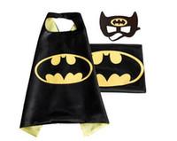 Wholesale J Double side kids Superhero Capes and masks Batman Spiderman Ninja Turtles Flash Supergirl Batgirl Robin for kids capes with mask