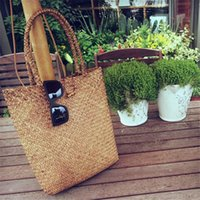 straw beach bag - 2016 Summer Hot Large Straw Beach Bags Handmade Woven Tote Women Fashion Travel Handbags Pop Tote Bag Designer Vintage Shopping Bag Bolso
