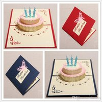 anniversary musical card - 2015 Stereo Invitation Card The Creative Handmade Kirigami Origami D Pop UP Greeting Cards For Gift Birthday Cake Greeting Cards