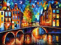 artist bridge - Leonid Afremov decoration oil painting the bridges of amsterdam famous artist reproduction