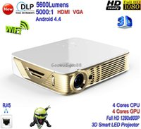 Wholesale 2016 New DLP High Brightness Lumens Home Theater Smart K Projector Full HD P D WiFi Android LAN LED Projector