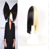 act black - Topcosplay Sia Alive This Is Acting Half Black and Blonde Short Costume Cosplay Wigs Cover Nose Halloween Hair for Women