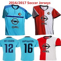 Wholesale 2016 Soccer Jersey Feyenoord Football Shirts Kuyt Lex Immers Simon Kramer Home Away maillot de foot Feyenoord Man blue kids Top Quality