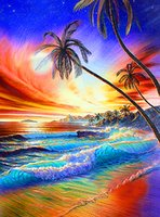 Wholesale YTG DIY D Diamond Mosaic Seaside Scenery Painting Cross Stitch Kits Diamonds Embroidery Home Decoration Or Personal Customized Any Image