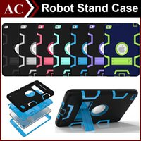 Cheap 3 In 1 Shockproof Kids PC + Rubber TPU Hybrid Robot Case for iPad Mini 1 2 3 4 Air 6 Pro Heavy Duty Shell With Stand Skin Cover DHL