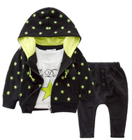 baby outer wear - Stars Casual Wear Baby Sportwear Clothing Sets Hooded Outer Long Sleeves T shirt Pants Two Prints Design