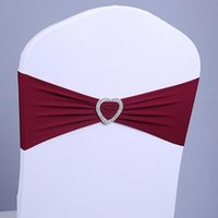 Wholesale 200pcs Elastic Lycra Chair Sash Bands Wedding Spandex Chair Bands With Heart Shape Plastic Buckle Colors Tiffany Blue Red Gold DHL Free