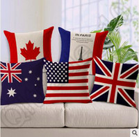 american flag pillow - 100pcs CCA4409 High Quality Designs National Flags Cushion Cover American British Canada French Flags Pillow Case Home Office Pillow Case
