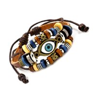 batch beaded jewelry - Retro beaded eye leather cowhide bracelets Bohemia infinity bracelet for women and men Fashion jewelry Small mixed batch
