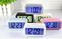 Wholesale 1 piece candy color Large Big LED Screen Calendar Digital Alarm Clock with Snooze Function Thermometer Original Gift Box