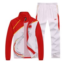Wholesale Olympic Games Chinese team sportswear embroidery flag Men s sports clothes sets Outdoors tops Jacket caots Pants