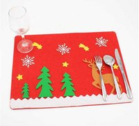 Wholesale New Style Christmas Non woven Mats And Cutlery Bag for Christmas decorations Table Decoration Via DHL Ship