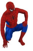 Wholesale Free P P Red and Blue Lycra Spandex Spiderman Hero Zentai Costume S XXL