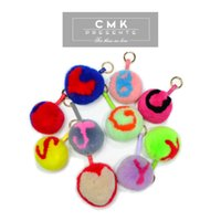 ball hooks - CMK KST002 Letters A Z Cute Furry Keychain Real Bunny Rabbit Fur Ball Cuztomized Produce in Working Days Bag Metal Bag Bugs for Girls