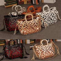 big satchel handbags - New arrived hot sale Retro carved hollow fringed bag cutout big bag shoulder bag fashion bags woman Shoulder Handbags