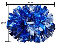 baton handle pom poms - Metal Color Cheerleader pompoms with baton handle CM Cheerleading pom pom High quality Pompoms The Color Can Choose