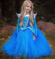 al por mayor trajes de princesa de halloween para bebés niña-Los niños del bebé que arropan a muchachas vestido de la princesa cuentos de hadas La travesía durmiente de la traje de la manga larga traje cosplay del funcionamiento de la etapa Día de Halloween