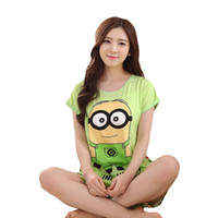 Wholesale 2016 New Women Yellow Minions Pajama Cartoon Sleepwear For Women Pajamas Sets For Girls Monkey Milk Cotton Home Sleepwear