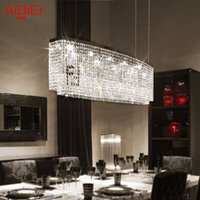 Wholesale Rectangle led modern minimalist restaurant crystal chandelier living room lamps atmosphere with luxurious Bar lighting free delivery