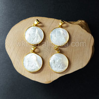 Wholesale WT P873 Gold plated sea shell jewelry pendant gold bezel shell pendant jewelry gift in beautiful design